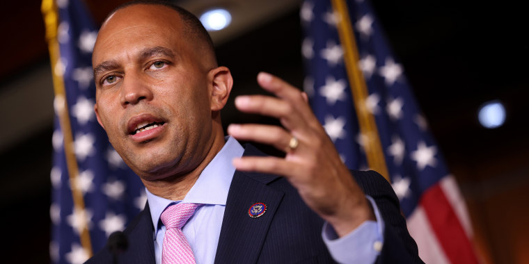 Image: Democratic Caucus Chairman Hakeem Jeffries, D-N.Y., at a news conference at the Capitol on Sept. 21, 2021.