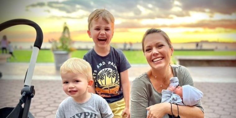 Dylan Dreyer with sons Calvin, 4, Oliver, 21 months, and Rusty, 3 weeks.