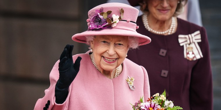 Image: Queen Elizabeth II attends the opening ceremony of the sixth session of the Senedd at The Senedd on Oct. 14, 2021 in Cardiff, Wales.