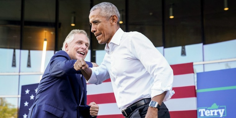 Image: Virginia Democratic gubernatorial candidate Terry McAuliffe welcomes former President Barack Obama during his campaign rally in Richmond, Va., on Oct. 23, 2021.