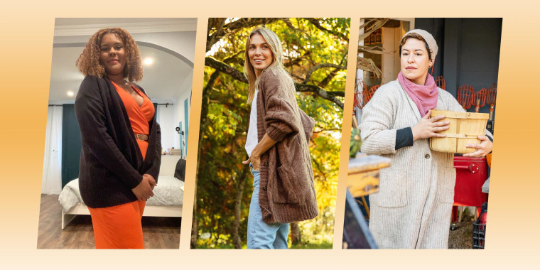 Three images of different Women wearing different colors and styles of Cardigans for fall