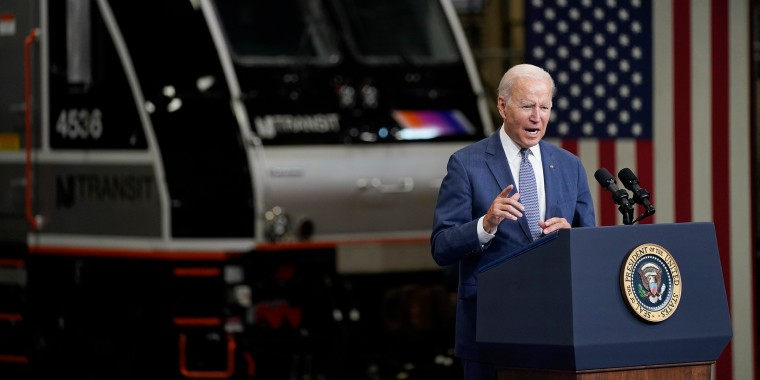 "Image: President Joe Biden delivers remarks at NJ Transit Meadowlands Maintenance Complex to promote his \""Build Back Better\"" agenda, on Oct. 25, 2021, in Kearny, N.J."