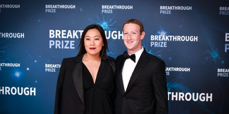 Facebook CEO Mark Zuckerberg and his wife Priscilla Chan arrive for the 8th annual Breakthrough Prize awards ceremony at NASA Ames Research Center in Mountain View, Calif., on Nov. 3, 2019.