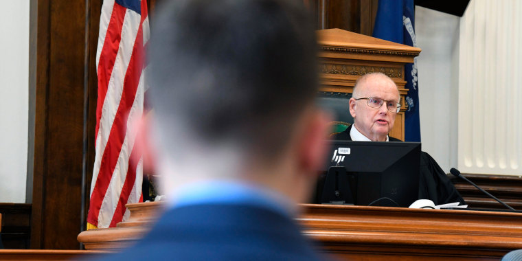 Circuit Court Judge Bruce Schroeder presides over Kyle Rittenhouse's pre-trial hearing at the Kenosha County Courthouse in Kenosha, Wis., on Monday, Oct. 25, 2021.