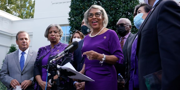 Rep. Joyce Beatty, D-Ohio, center, Chair of the Congressional Black Caucus, speaks outside the West Wing of the White House on Oct. 26, 2021.