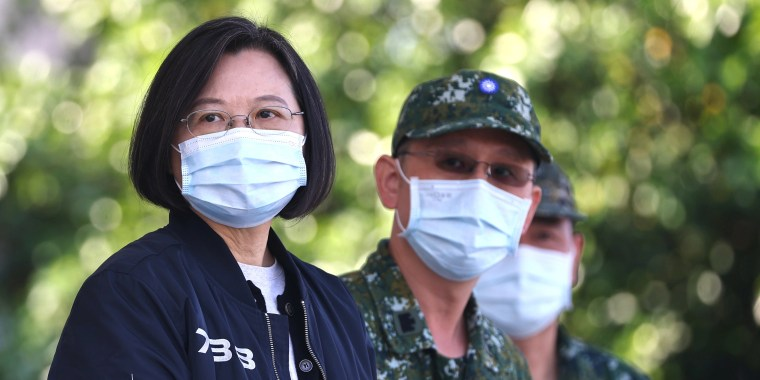 Taiwan President Tsai Ing-wen oversees a military emergency drill in Tainan,