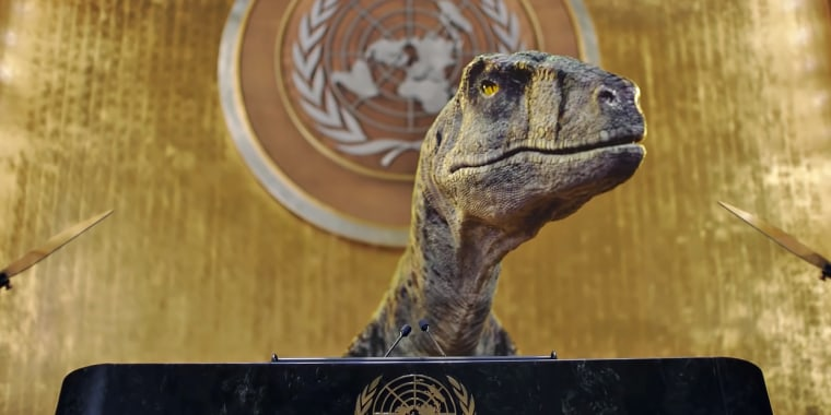 A computer-generated dinosaur addresses the United Nations in a video released ahead of this year's U.N. climate change summit.