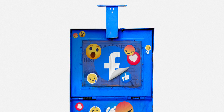 Image: Illustration shows a worn-down newspaper box with Facebook emoji stickers on it.