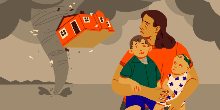 Illustration of a mother shielding her children as a derecho storm lifts up their house.