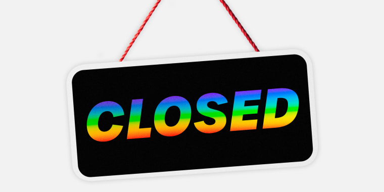 "Illustration of a sign that says ""Closed"" in rainbow text."