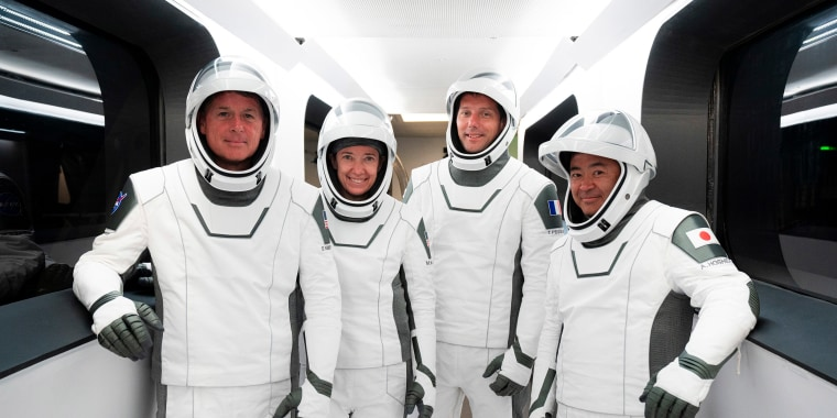 Image: NASA astronauts Shane Kimbrough and Megan McArthur, European Space Agency astronaut Thomas Pesquet and Japan Aerospace Exploration Agency astronaut Akihiko Hoshide