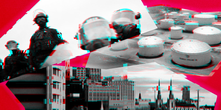 Illustration of the D.C. Metropolitan Police, the Colonial Pipeline, and the city of Tulsa with digital glitching.