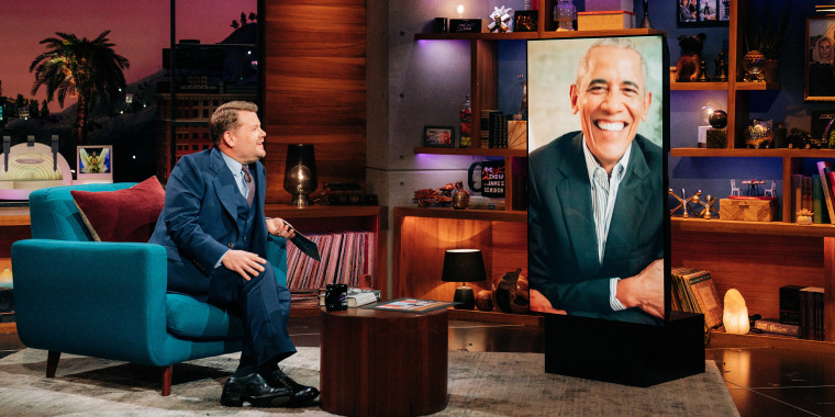 The Late Late Show with James Corden airing May 17, 2021, with guest Former President Barack Obama.