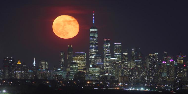 Moonrise Above Lower Manhattan in New York City