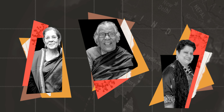 Photo illustration: Images of three women and fragments of the Covid-19 spore against the map of India in the background.