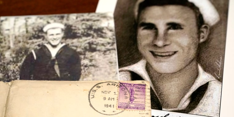 Image: Photos of sailor William Edward Mann and a letter written from him and post-marked from the USS Arizona, where he died during the bombing of Pearl Harbor, at the home of his niece, Teri Mann Whyatt, on July 14, 2021, in Newcastle, Wash.