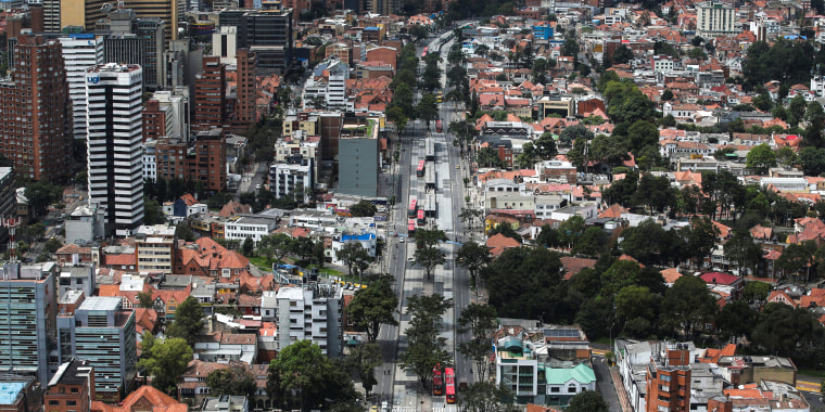 The streets of Bogota, Colombia on April 7, 2020.