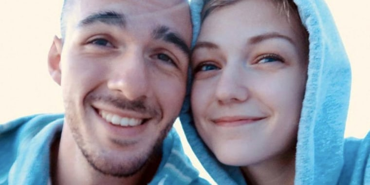 Gabrielle Petito, 22, who was reported missing on Sept. 11, 2021 after traveling with her boyfriend around the country in a van and never returned home, poses for a photo with Brian Laundrie in this photo.