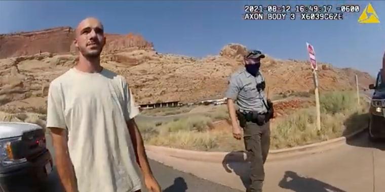 Brian Laundrie habló con un policía de Moab en la carretera el 12 de agosto pasado.