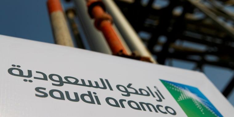 Image: FILE PHOTO: Saudi Aramco logo is pictured at the oil facility in Abqaiq