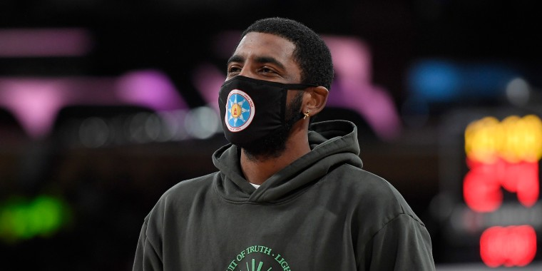 Image: Kyrie Irving of the Brooklyn Nets during a preseason game against the Lakers in Los Angeles on on Oct. 3, 2021.