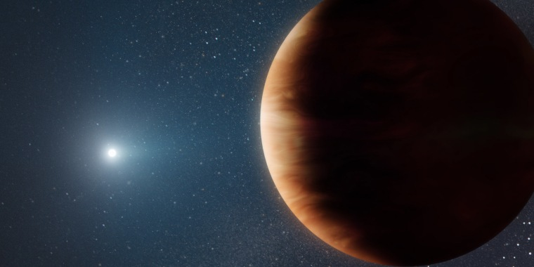 An artist's rendition of the newly discovered Jupiter-like planet orbiting a white dwarf, or dead star.