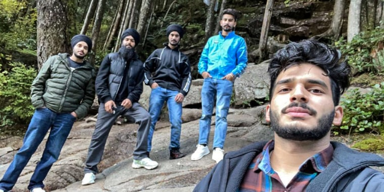 Kuljinder Kinda, left, and his friends at Golden Ears Provincial Park in British Columbia on Oct. 11, 2021.