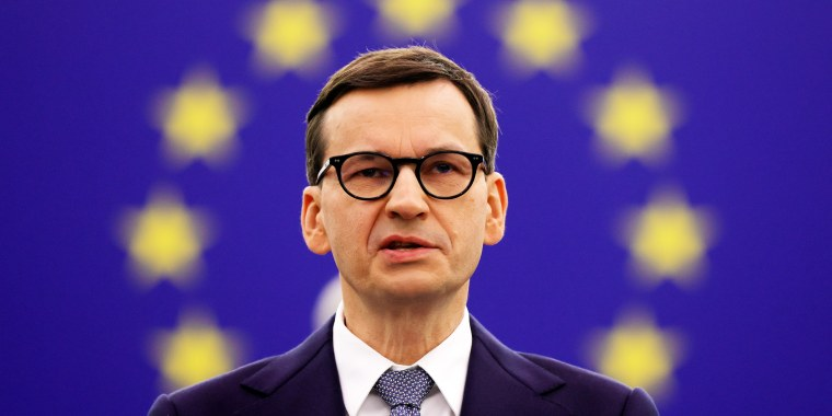 Polish Prime Minister Mateusz Morawiecki delivers a speech during a debate on Poland's challenge to the supremacy of EU laws at the European Parliament in Strasbourg, France, on Oct. 19, 2021.