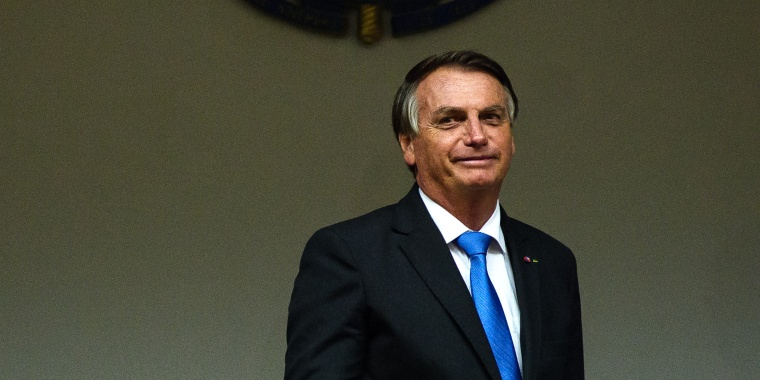 Image: President of Brazil Jair Bolsonaro after a last minute press conference with Paulo Guedes, Minister of Economy at the Ministry of Economy on Oct. 22, 2021 in Brasilia, Brazil.