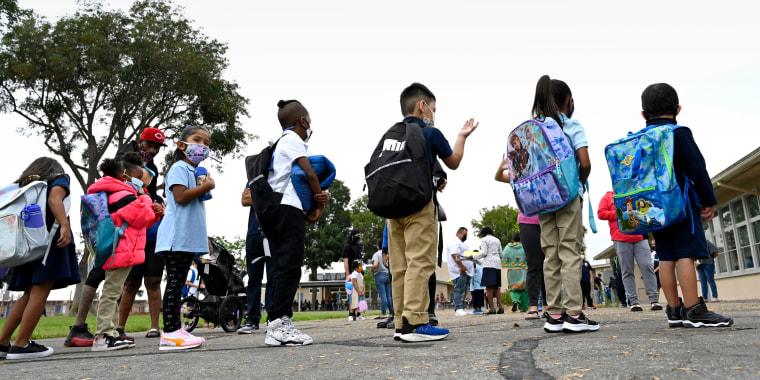 Students begin the Fall semester of school in Long Beach.