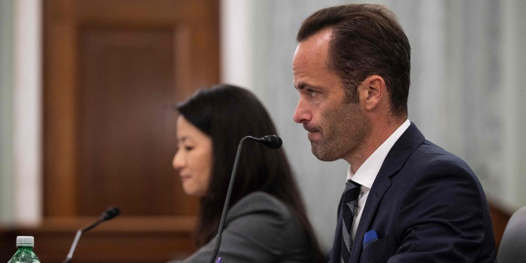 Image: U.S. TikTok Vice President and Head of Public Policy Michael Beckerman testifies in a Senate hearing on Kids' Online Safety on Capitol Hill on Oct. 26, 2021.