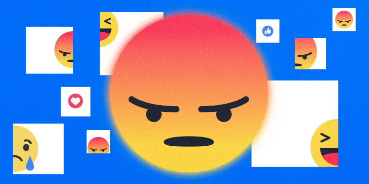 """Illustration of a big, """"angry"""" Facebook emoji flanked by other, smaller Facebook emoji reactions."""
