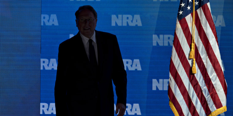 Wayne LaPierre, chief executive officer of the National Rifle Association, arrives to speak during the NRA annual meeting in Dallas on May 4, 2018.