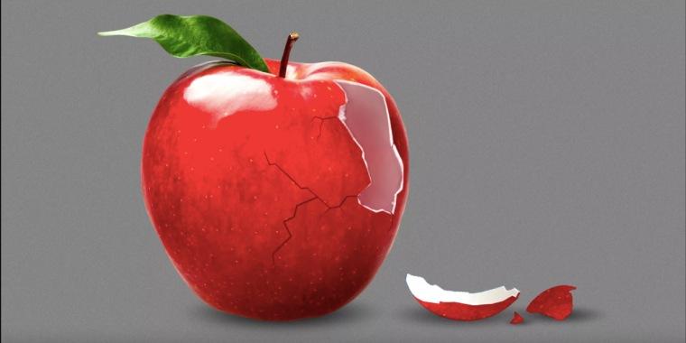 Ilustración que muestra una manzana rota, en representación de una salud afectada por falta de nutrientes