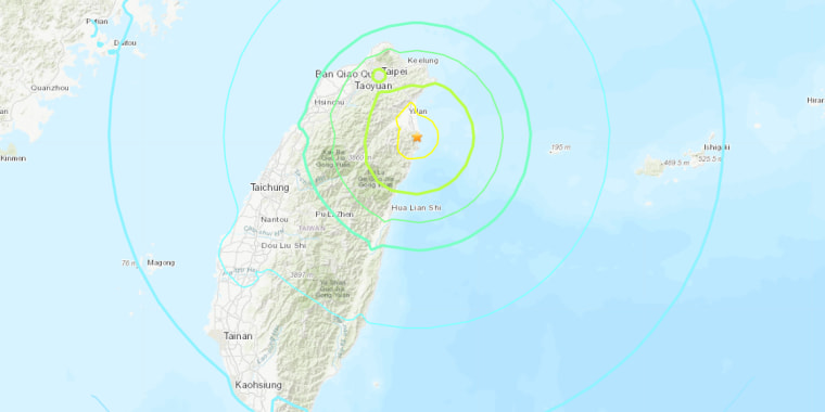 Map showing epicenter of earthquake that struck Taiwan on on Sunday.