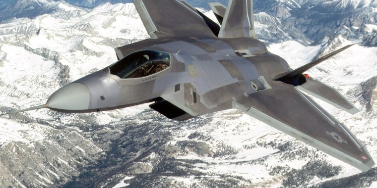 UNDATED: (FILE PHOTO) An F-22 Raptor flies in this undated image provided by Lockheed Martin. The first Raptor will join the 27th Fighter Squadron at Langley Air Force Base in Virginia October 27, 2004 after leaving Lockheed's plant in Marietta, Georgia. It was reported that the Senate voted 58-40 to cut $1.75 billion from a military authorization bill which was intended for seven Lockheed Martin/Boeing F-22 Raptor fighter jets on JUly 21, 2009. (Photo by Lockheed Martin via Getty Images)