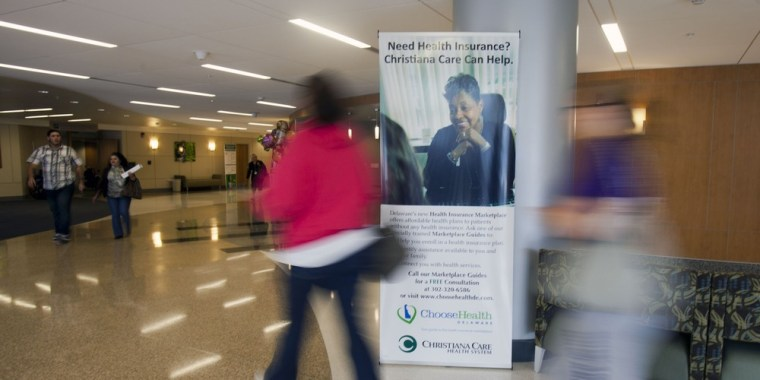 A banner in the lobby of the Christiana Care Health System in Wilmington, Delaware advertises free counsultations with a Marketplace Guide regarding health insurance options