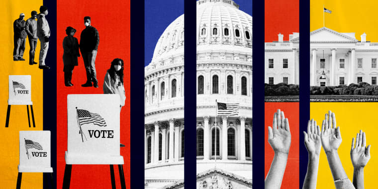 Image: Illustration of photos depicting voters on line, voting booths, the Capitol, the White House and raised hands.