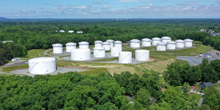 Image: Holding tanks are seen in an aerial photograph at Colonial Pipeline's Charlotte Tank Farm