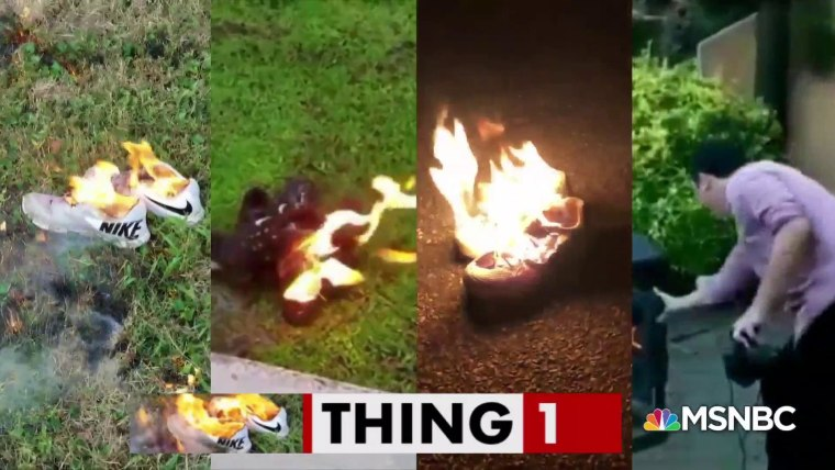 aparato argumento Consejo  People are lighting shoes on fire to 'own the libs'
