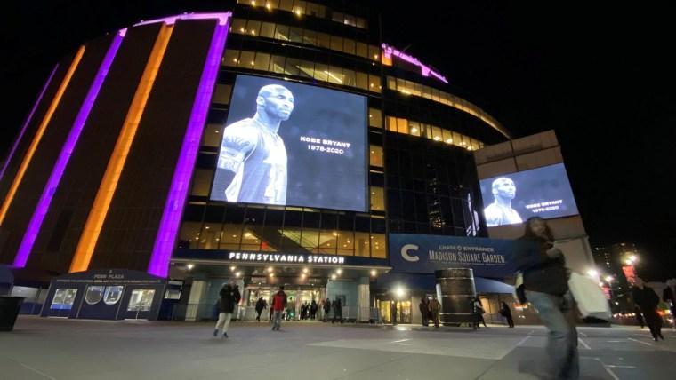 Kobe Bryant's jerseys illuminated during Grammy Awards