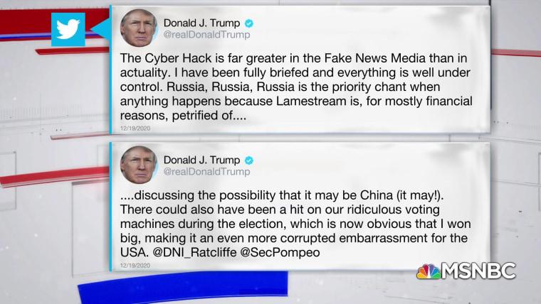 Trump Tweet Downplays Russia Hack Implicates China