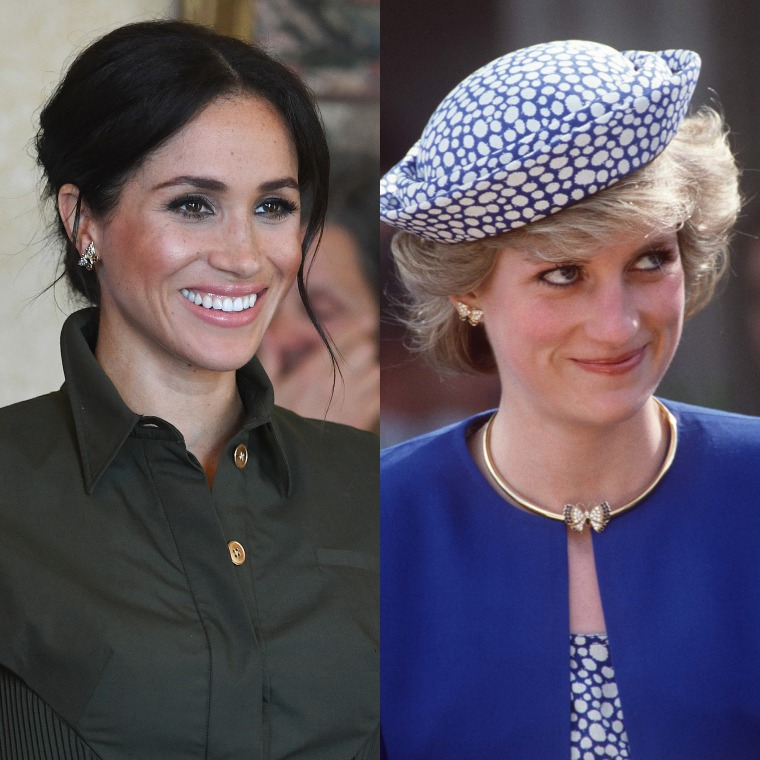 Meghan and Princess Diana wearing the same earrings