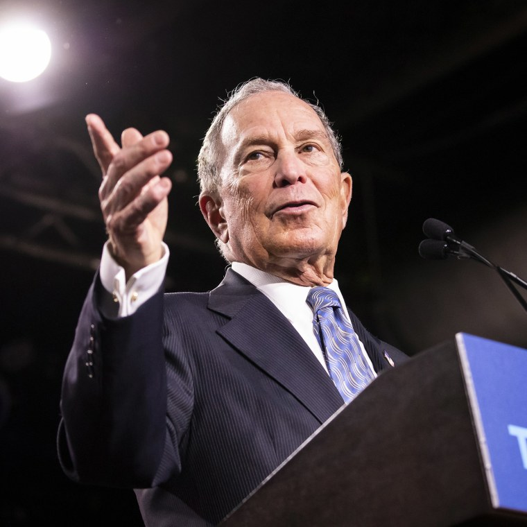 Image: Democratic presidential candidate Mike Bloomberg during a campaign rally