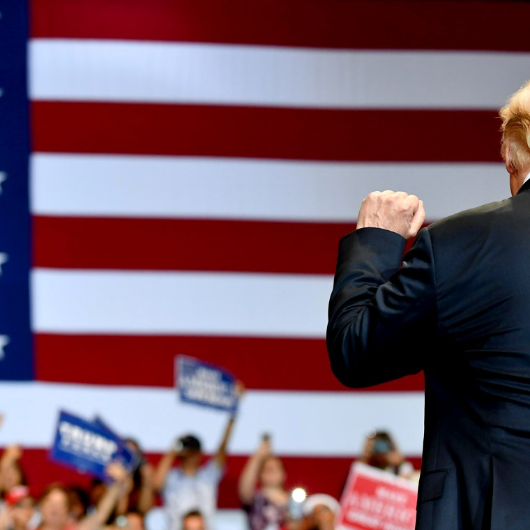 Image: President Donald Trump greets supporters at a rally in Las Vegas on Sept. 20, 2018.