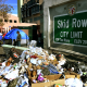 Trash lies beside the Skid Row City Limit mural as the city begins its annual homeless count in Los Angeles on Jan. 26, 2018.