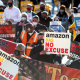Image: Protest in support of the unionizing efforts of the Alabama Amazon workers, in Los Angeles