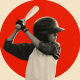 Image: Illustration shows a young boy holding a baseball bat on a background with a red circle.