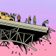 Illustration of a broken bridge with people looking over the side from the road and their car windows.