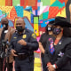 Image: Houston Police Chief Try Finner speaks to the media near the George Floyd mural that was defaced, in Houston, on April 22, 2021.